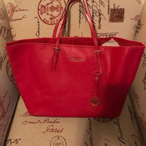 Michael Kors Saffiano Red Leather Tote